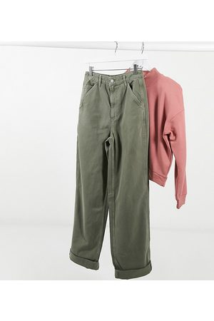 ASOS Pantalones chinos holgados en color caqui de ASOS DESIGN Tall-Verde