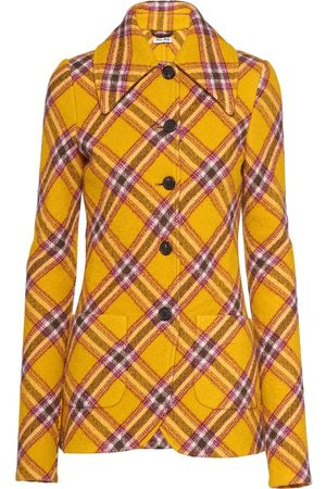 Miu Miu Single-breasted checked wool jacket