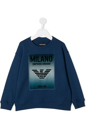 Emporio Armani Logo-patch crew neck sweatshirt