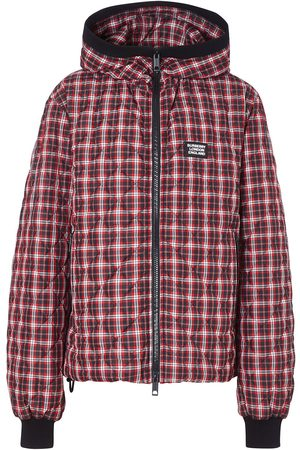 Burberry Quilted check-print hooded jacket