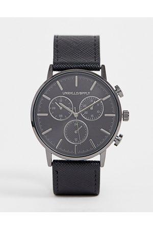 ASOS Reloj con subesferas gris oscuro y correa de Saffiano de