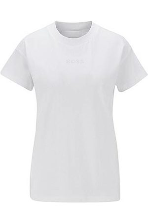 HUGO BOSS Mujer Manga corta - Relaxed-fit T-shirt in Recot²® cotton with Swarovski® logo