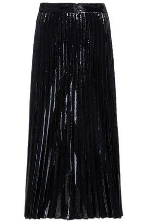 HUGO BOSS Velvet and glitter-effect midi skirt with plissé pleats