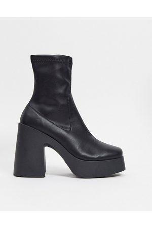 ASOS Botas negras de estilo calcetín y tacón alto de poliuretano Elsie de