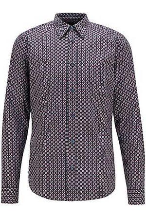 HUGO BOSS Hombre Casual - Camisa slim fit en popelín de algodón con motivo de temporada