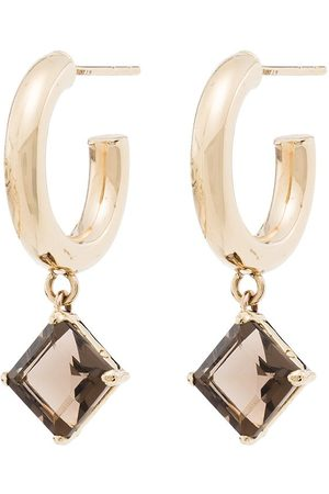 LOREN STEWART 10kt gold quartz hoop earrings