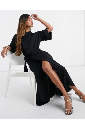 ASOS Mujer Midi - Vestido midi con falda cruzada y cuello desbocado de