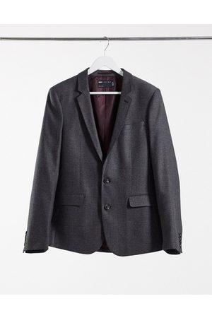 ASOS Chaqueta de traje ajustada de mezcla de lana con diseño de espiga color antracita de wedding-Gris