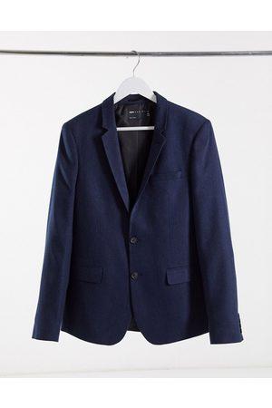 ASOS Chaqueta de traje ajustada de mezcla de lana con diseño de espiga marino de wedding