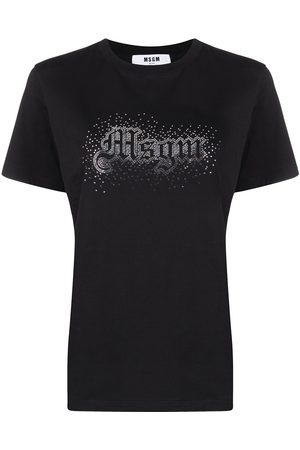 Msgm Mujer Tops - Camiseta con logo con detalles