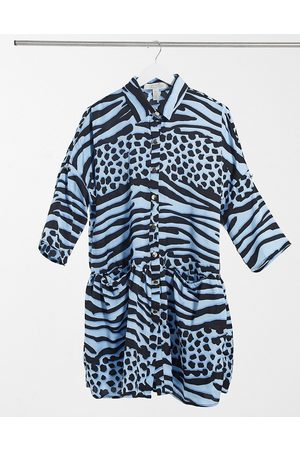 Liquorish Vestido corto azul extragrande cruzado con de