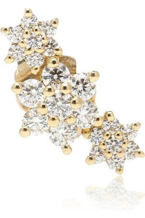 Maria Tash Arete solitario Three Flower Garland de oro de 14 ct con diamantes