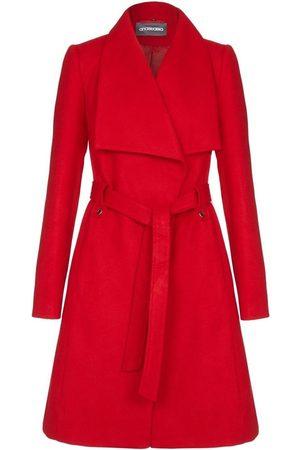 Anastasia Gabardina Abrigo de invierno para mujer con collar ancho y cinturón para mujer