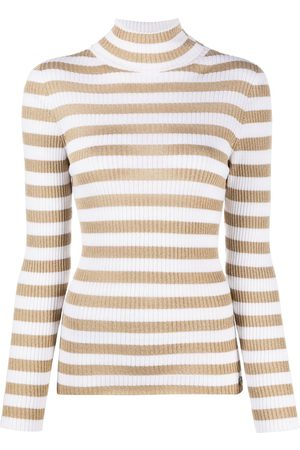 Twin-Set Mujer Cuello alto - Turtleneck metallic-stripe jumper