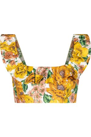 ZIMMERMANN Crop top Poppy de lino floral