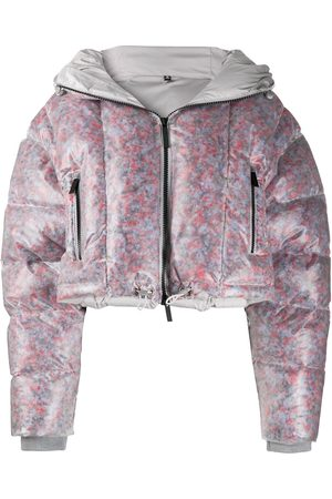 McQ Swallow Cropped transparent padded jacket