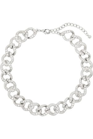 Kenneth Jay Lane Silver tone crystal chain link necklace