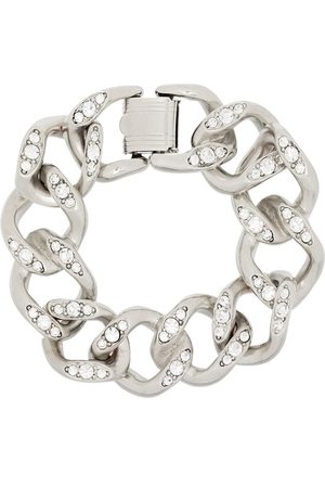 Kenneth Jay Lane Silver tone crystal chain link bracelet