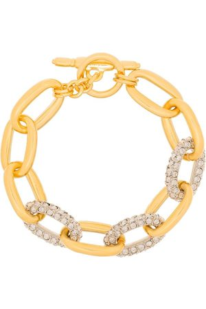 Kenneth Jay Lane Gold tone crystal chain link bracelet