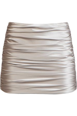 Michelle Mason Ruched silk mini skirt