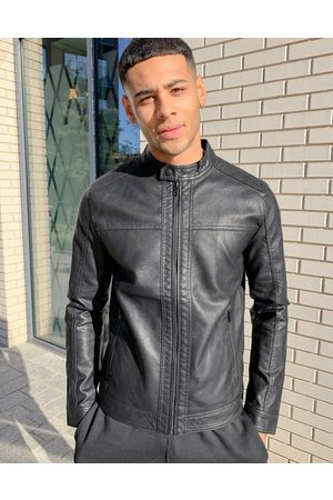 Jack & Jones Chaqueta biker negra de cuero sintético de Essentials