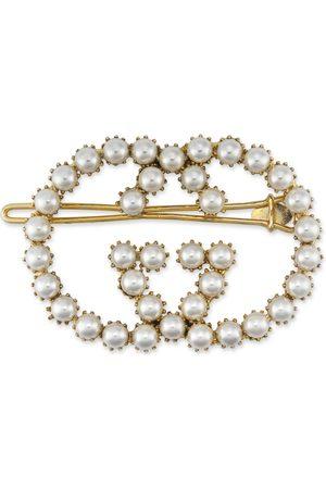 Gucci Accesorios del pelo - Horquilla para el cabello con GG de perlas