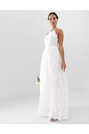ASOS Vestido largo de novia con cuello halter de encaje de -Blanco