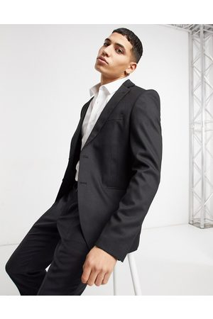 Bolongaro Chaqueta de traje negra entallada con diseño liso de
