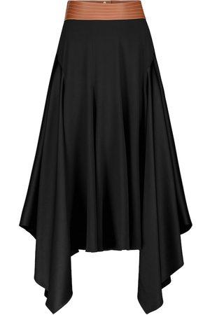 Loewe Falda midi con ribetes de piel
