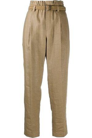 Brunello Cucinelli Pantalones capri con cinturón