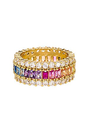 The M Jewelers Anillo three row rainbow en color oro metálico talla 6 en - Metallic Gold. Talla 6 (también en 7, 8).