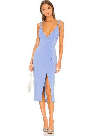 Camila Coelho Vestido midi aaliyah en color azul talla L en - Blue. Talla L (también en M, S, XL, XS).