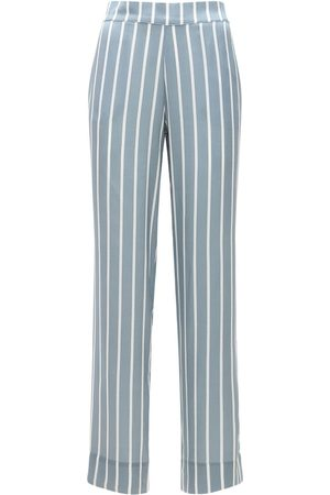 "ASCENO | Mujer Pantalón De Pijama ""the London"" De Satén De Seda /blanco Xs"