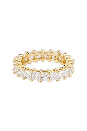 The M Jewelers Anillo princess cut eternity en color oro metálico talla 5 en - Metallic Gold. Talla 5 (también en 6, 7, 8)