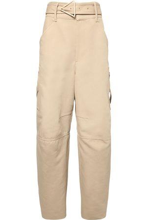 Bottega Veneta | Mujer Pantalones De Lona De Algodón Doble Con Cinturón 36