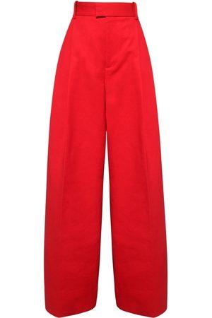 Bottega Veneta | Mujer Pantalones Anchos De Algodón Con Cintura Alta 36