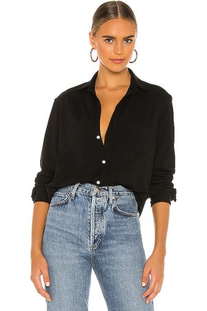 FRANK & EILEEN Eileen knit button down shirt en color talla S en - Black. Talla S (también en XS).