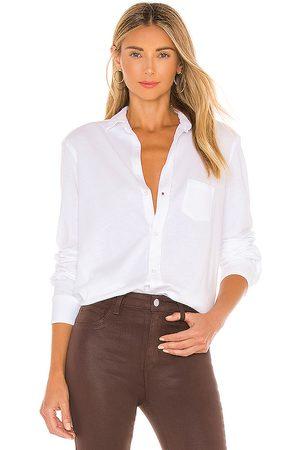 FRANK & EILEEN Eileen knit button down shirt en color talla L en - White. Talla L (también en XS, S, M).