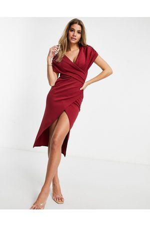 ASOS Vestido midi rojo óxido envolvente fruncido con manga corta de -Multicolor