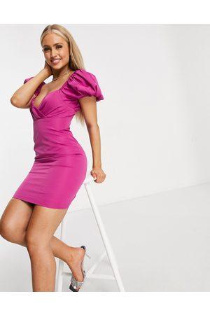 Club L Vestido corto con mangas abullonadas de