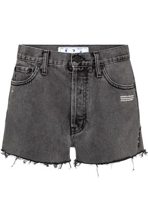 OFF-WHITE Shorts de jeans de tiro alto