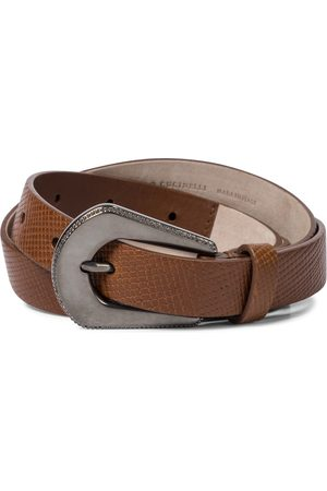 Brunello Cucinelli Cinturón de piel grabada