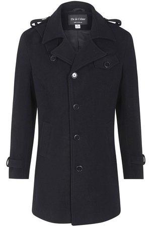 De la creme Abrigo Abrigo de invierno estilo militar mezcla de lana para hombre
