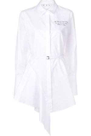 OFF-WHITE Vestido camisero corto con dobladillo asimétrico
