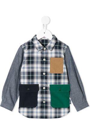 Familiar Camisa de cuadros con bolsillos de solapa