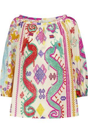 Etro Blusa de algodón estampada