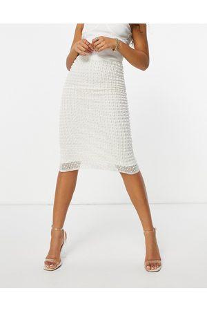 Starlet Mujer Midi - Falda midi color marfil con adornos de -Blanco