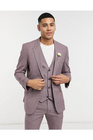 ASOS Chaqueta de traje ajustada con diseño a cuadros en color vino de wedding