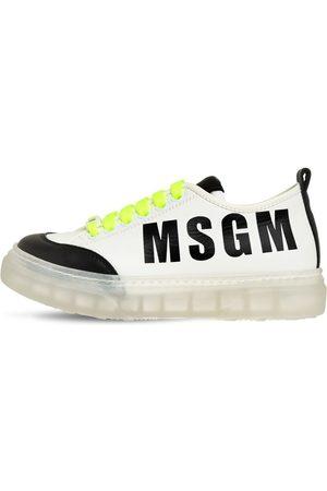 Msgm | Niño Sneakers De Piel Con Cordones Y Logo 35