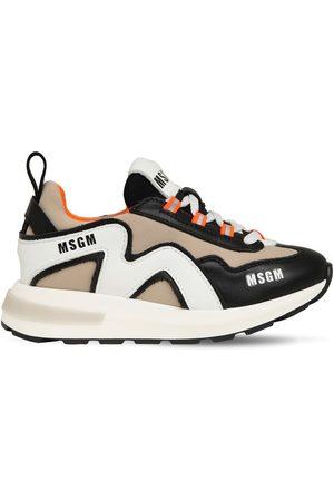 Msgm | Niña Sneakers De Piel Y Neopreno Con Cordones 35